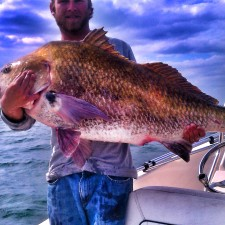 Trevor with his biggest Black Drum