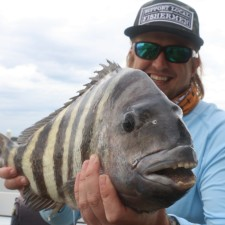 Chris Topher with a chunk of a Sheepshead