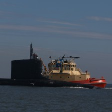 Navy submarine coming through Mayport Inlet